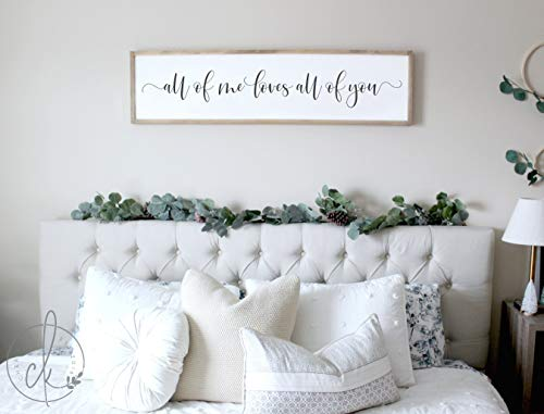 CELYCASY Master Bedroom Sign | All of me Loves All of You Sign | Master Bedroom Wall Decor | Bedroom Wall Art | Wood Framed Signs | Sign for Bedroom