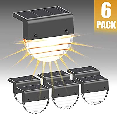 Solar Deck Lights, Solar Step Lights Outdoor Waterproof Led Solar Fence Lights for Patio, Stairs,Yard, Garden Pathway, Step and Fences Warm White/Color Changing Lighting (6 Pack)
