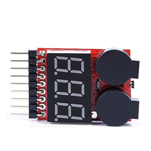 abbort 1-8S LED Lipo Battery Monitor Voltage Indicator Checker Tester Low Voltage Buzzer Alarm for Lipo Li-ion LiMn Li-Fe Battery