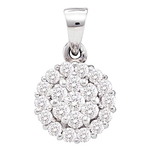 Jawa Jewelers 14kt White Gold Womens Round Diamond Circle Frame Flower Cluster Pendant 1/2 Cttw ()