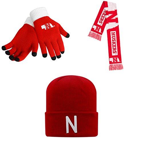 NCAA Nebraska Cornhuskers Glove Solid Knit TOW Beanie Hat And Big Logo Scarf 3 Pack - Nebraska Huskers Hat Hard