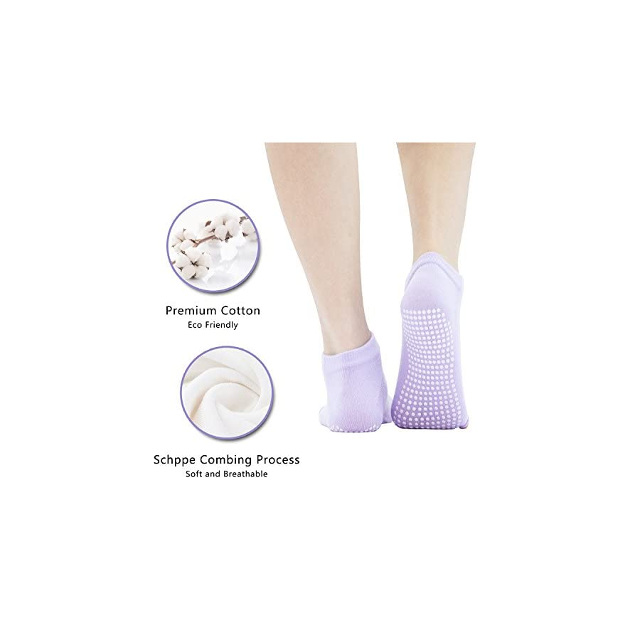 AMOVEE Yoga Socks Half Toe Non Slip Socks with Grips for Pilates Barre Bikram Dance, 3 Pairs with Free Gloves