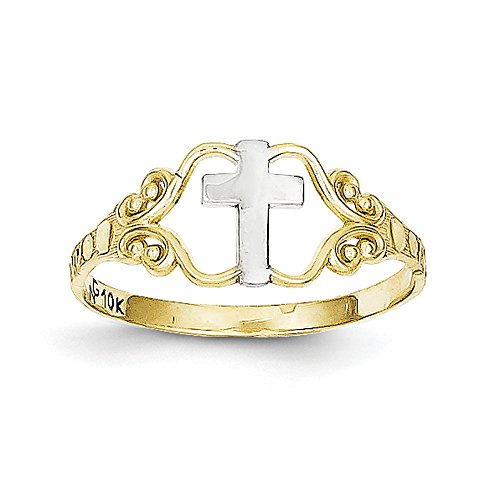 Women's 10K Two-Tone Gold Cross Ring (Two Tone Gold Cross Ring)