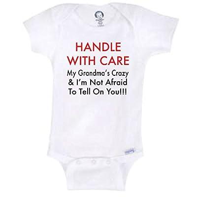 Handle With Care My Grandma's Crazy Funny Baby Onesie Gerber Novelty Shirt Blakenreag