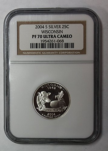 - 2004 S Wisconsin Silver State Quarter 25c PF70UCAM NGC