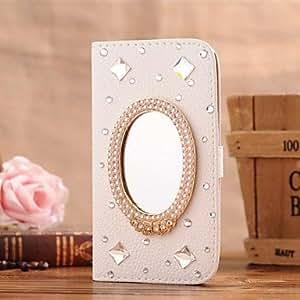 WQQ espejo de la gema del diamante de la PU cuero caso de cuerpo completo con soporte y ranura para tarjetas de 5c iphone