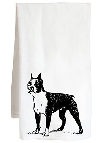 (Live Nice Boston Terrier - Dog Frank Cute Canine Decor - Farm Flour Sack Kitchen Tea Towel)
