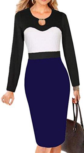 Lavoro Del Donne Vestito Elegante Matita Blu Delle Al Business Dalla Jaycargogo Indossare Patchwork Partito HawYwqS