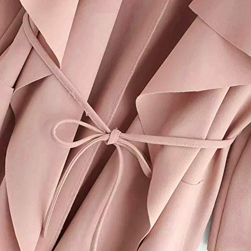 Giacca Colore Tasca Avvolgere Outwear Lungo Del Il Collare Donne Anteriore Con Della Rosa Cardigan Della Casuale Cappotto Cascata Mezzo Cinghia Xmiral 6xFvYqzxwT