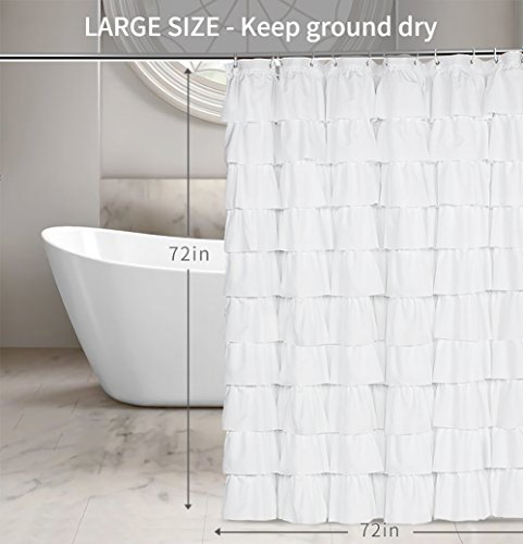 KEEP PRIVACY Quality White Curtain With Tiered Design Opaque Difficult To See Through Provides A Good Layer Of Privacy During Bath Time LONG Shower