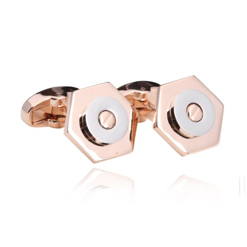 Digabi Men's Jewelry Fashion Design Nut Shape Gold Plated Cufflinks Best Gift Color Rose - Nut Rose