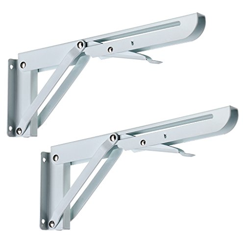 Sumnacon Sturdy Folding Shelf Brackets - Heavy Duty White Metal Triangle Table Bench Folding Shelf Bracket 10 Inch, 2 Pcs Folding Shelf Hinge Wall Mounted, Max Load 132lb
