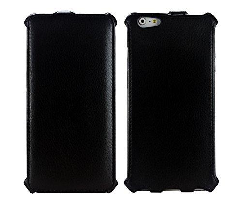 PREMYO Custodia Cover iPhone 6 Plus in Nero. Elegante iPhone 6 Plus Flip Cover con rifinitura in similpelle. Custodia protettiva per iPhone 6 Plus ultrasottile e di alta qualità