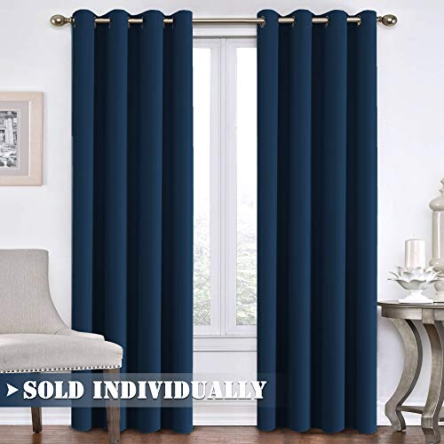 Flamingo P Navy Blackout Curtains for Patio Door Extra Long Window Drapes Thermal Insulated Solid Ring Top Blackout Panel Draperies for Dinning Room Living Room (One Panel