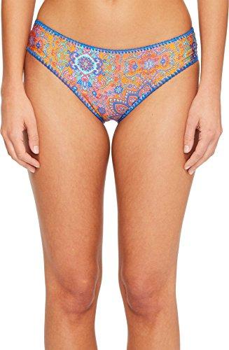Luli Fama Women's Candela Stitched Ruched Back Full Coverage Bikini Bottom, Multi, (Full Back Bikini)