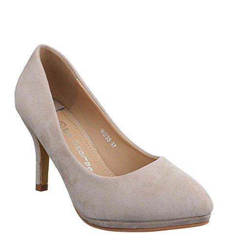 King Of Shoes Klassische Damen Pumps Stilettos Abend Schuhe Party Hochzeit 5V Beige WD35
