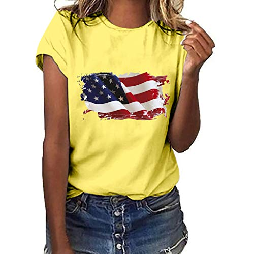 Women T-Shirt Qingell Independence Day Victory National Flag Independence Day Print Short Sleeve T-Shirt Tops Yellow