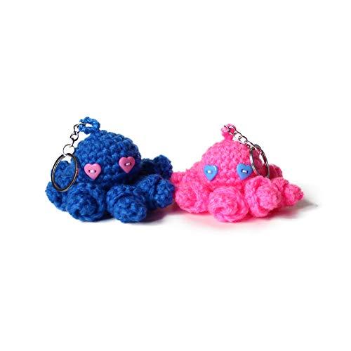 Handmade amigurumi crochet octopus key chain by Geekirumi!- Blue and pink bag charm (Set of 2)