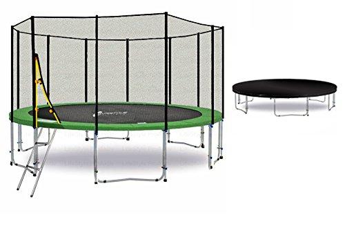 LS-T400-PA13 (GDW) DELUXE LifeStyle ProAktiv Garten- Trampolin 400 cm - 13ft - Extra Starkes Sicherheitsnetz - 180kg Traglast - TÜV/GS/CE