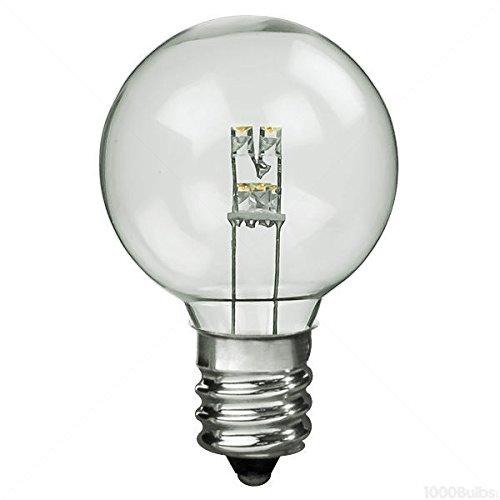 25 Pack 0.4W LED G12 Globe 2700K Warm White 1.5 in. Dia. Candelabra Base Clear 130V (G12 Leds Warm White)