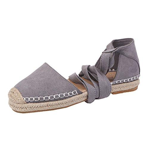 Gris Sandalias Sandalias Guita De Puro Mujer Rosa Punta Zapatos Sandalias Planos Color Tobillo Negro Confort Gris de Zapatos Redonda Cáñamo Playa Verano xIRnw8T