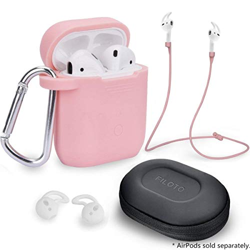 Airpods Accessories Set, Filoto Airpods Waterproof Silicone Case Cover with Keychain/Strap/Earhooks/Accessories Storage Travel Box for Apple Airpod (Pink)