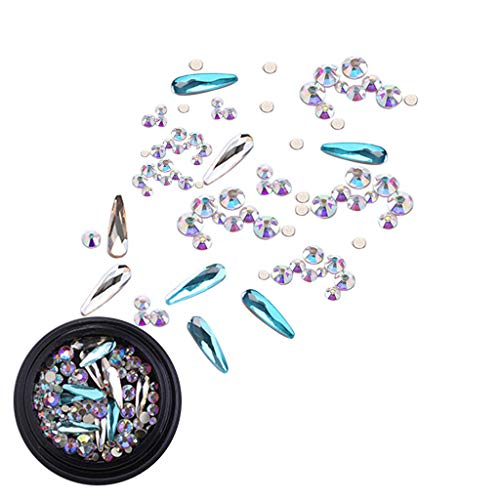 utda.sh-fs women's nails Nail Art Powder Mixed Luxury Square Drill Mirror Vibrato Nail Flat Drill Shaped Nail Mesh Holographic Laser Rainbow Diamond (B) ()