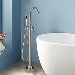 Woodbridge 54 acrylic freestanding bathtub contemporary soaking tub b 0006 with brushed nickel for Woodbridge 54 modern bathroom freestanding bathtub