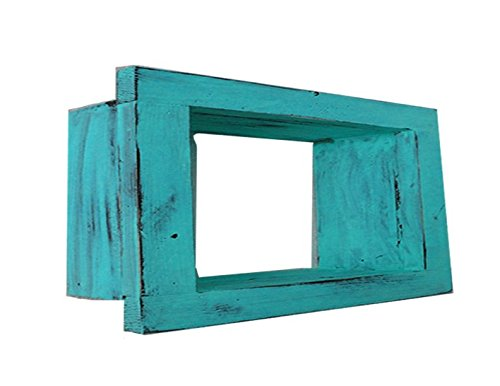 Wood / Wooden Shadow Box Display - 9'' x 6'' - Aqua - Decorative Reclaimed Distressed Vintage Appeal by IGC