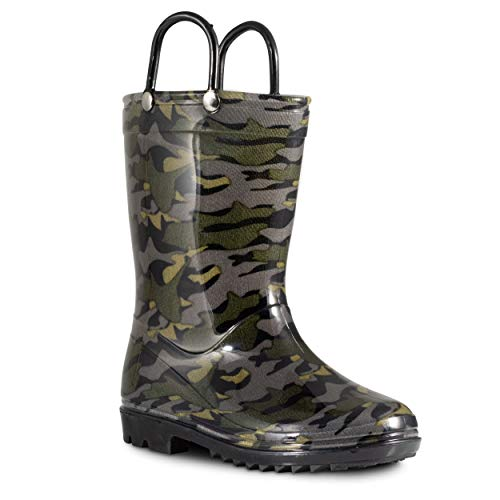 ZOOGS Children's Rain Boots with Handles, Little Kids & Toddlers, Boys & Girls, Dark Green (Camo), US 11Y