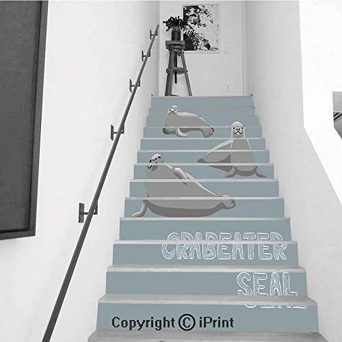 Crabeater Seal - baihemiya stickers 13Pcs Stair Sticker Decals 3D Creative Building Stair Risers Tiles Wallpaper Mural Self-Adhesive,Crabeater Seal Cartoon Vector Illustration