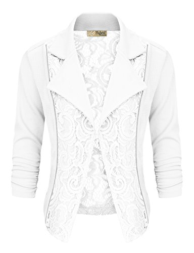 Women's Casual Work Lace Blazer KJK1140 WHITE XL