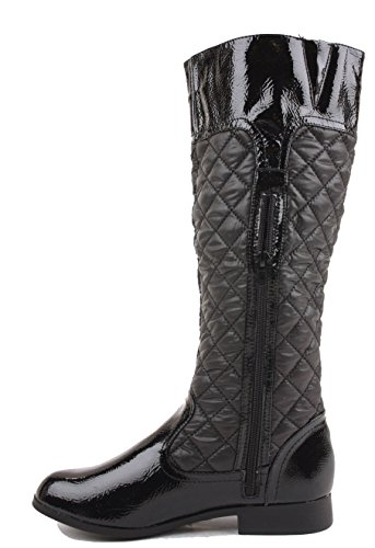 Thigh Over J High Calf 3 Riding Size Biker Style Heel FrontCover Black Boots Low Ladies Knee Flat Womens 8 Winter wqnR8xB