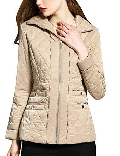 Uaneo Women's Winter Diamond Quilted Jacket Warm Coats Outwear (X-Small, Beige)