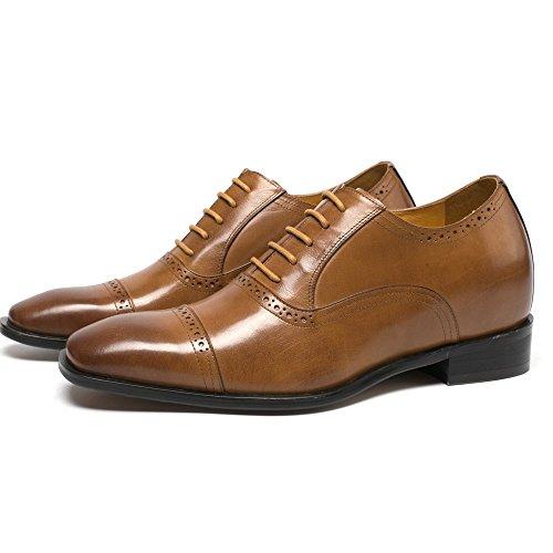 "CHAMARIPA Elevator Shoes 2.76"" Taller Men Brown Wingtip Dress Height Increasing Shoes Shoes K6506B US 7"