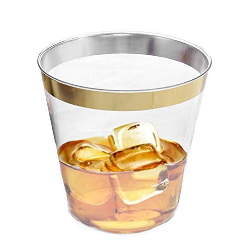 The Best Brands 100 Bulk Value Set Wedding Plastic Cups 9 oz Clear, Elegant Gold Rimmed, Disposable Heavy Duty, Fancy Reusable Tumblers, Anniversary Party, Receptions, Holiday -