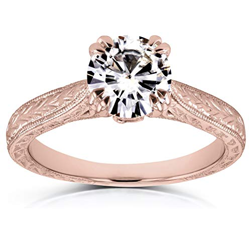 (Antique Style Moissanite Engagement Ring 1 CTW in 14k Rose Gold, Size 10, Rose Gold)