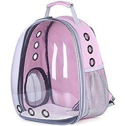 Breathable Portable Pet Cat Carrier Bag Outdoor Travel Puppy Cat Bag Transparent Space Pet Backpack 312842Cm,Pink