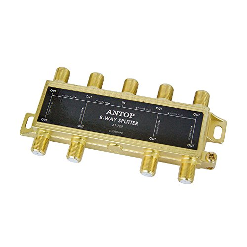 8 way TV Signal Splitter,ANTOP Digital Coax Cable Splitter 2GHz- 5-2050MHz High Performance for Satellite/Cable TV Antenna by ANTOP