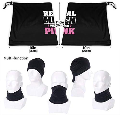 Real Men Wear Pink ネックガード UVカット バンダナ 縫い目なし フェイスガード 多機能 マジックスカーフ