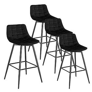 WOLTU 4 X Tabouret de Bar Bistro Chaise de Bar Assise rembourrée en Velours avec Pieds et Repose-Pieds en métal,Noir…