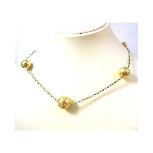 Jaune de collier en 18 KT et sphères d'or blanc - Oro giallo 18 kt