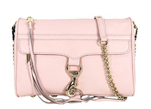 Mab Minkoff Mini Rebecca (Rebecca Minkoff MAC Leather Clutch Crossbody Bag, Quartz Pink)