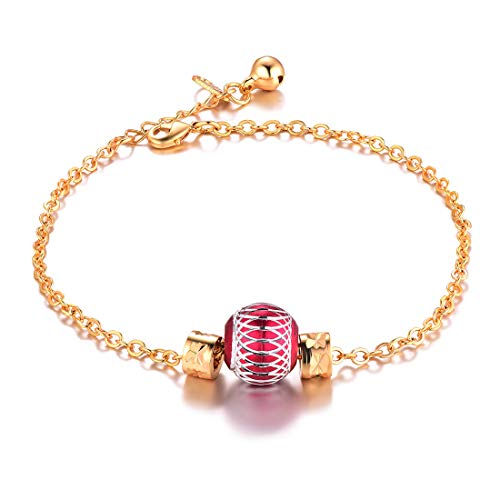 U7 Rolo Link Ankle Bracelet Red Ball Charm 18K Gold Plated ()