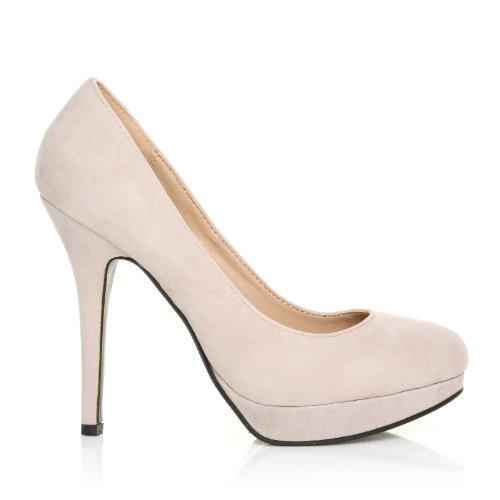 EVE - Chaussures à talons hauts - Plateforme - Nude - Effet daim