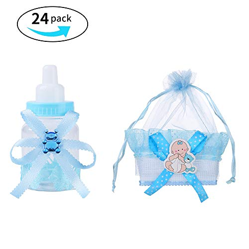 Noex Direct 24pcs Candy Bottle Gift Box and Organza Baby Shower Sheer Gift Bag Baby Shower Supplies for Baby Parties Birthday (Blue)