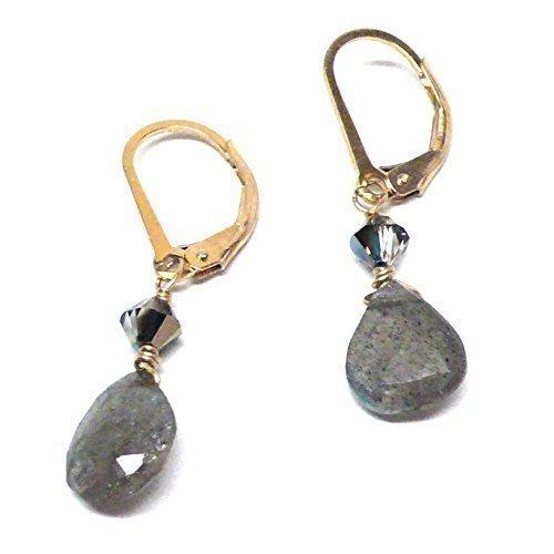 Labradorite 10x8mm Briolette Gold-Filled Lever Back Earrings Swarovski Crystal - Gold Labradorite Earrings