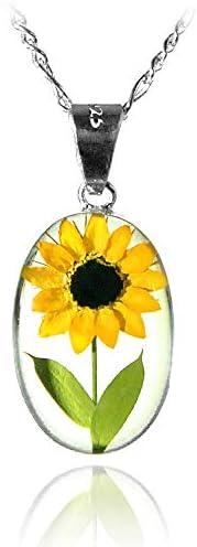 Dije/Collar Óvalo con Girasol Natural, Cadena Plata 45 cm, TAMI, Joyería Floral