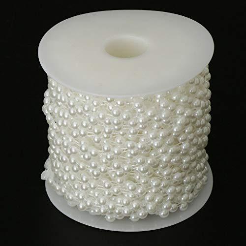 BROSCO 15m Pearl Bead String Christmas Decor Beads Favor DIY Wedding Party Accs   Color - White