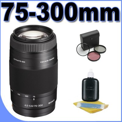 Sony 75-300mm f/4.5-5.6 Compact Super Telephoto Zoom Lens for Sony Alpha Digital SLR Camera + Filter Kit BigVALUEInc Accessory Saver Bundle ()